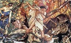 Atalanta, Péleus + diviak