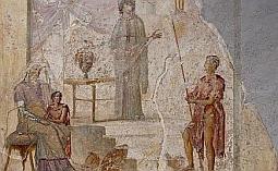 Kassandra predpovedá pád Tróje pred svojim otcom Priamom (sediaci), Paris (drží jablko sváru), bojovník držiaci oštep je pravdepodobne Hektor. Freska (obraz maľovaný priamo na omietku steny) je z Pompejí.