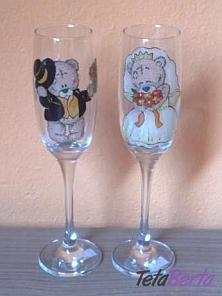 svadobné maľované poháre